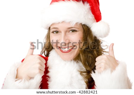 Happy Santa Woman is showing thumbs up sign. Isolated on white.