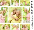 Happy senior couple outdoor collection. - stock