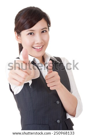 Happy smiling Asian business woman give you an excellent sign, closeup portrait on white background.