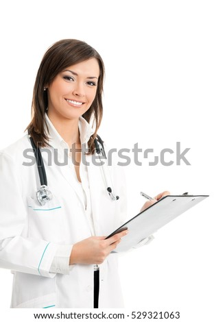 Happy smiling female doctor writing on clipboard, isolated on white background