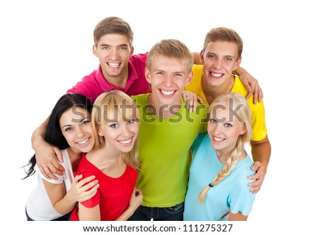 Happy smiling friends, group of young people standing and embracing together top angle view isolated on white background