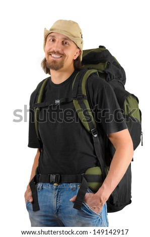 happy smiling guy-backpacker shot on white background