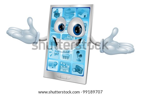 Happy smiling silver and blue phone cartoon character or mascot