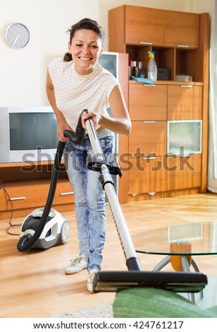 Young Wife Vacuum Cleaner Living Room Stock Photo 418291570 Shutterstock
