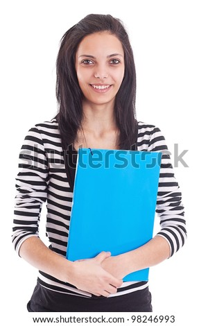 Happy student girl, isolated on white