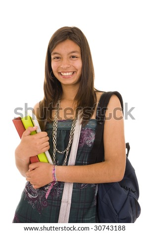 Happy student isolated on white background