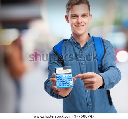 happy student man with calculator