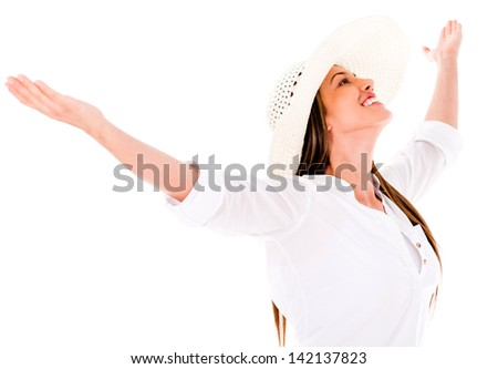 Happy summer woman with arms open - isolated over a white background