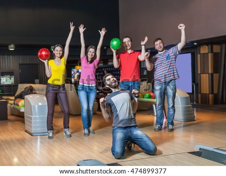 Happy team in bowling