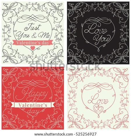 Happy valentines day! Holiday set of borders with floral pattern and  text  at retro style