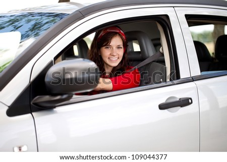happy woman driver