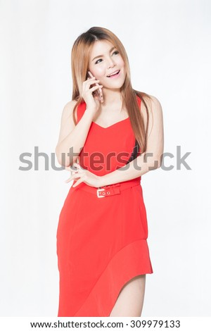 Happy woman phone talking. Face with toothy smile, isolated over white