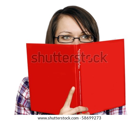 Happy woman with a red book