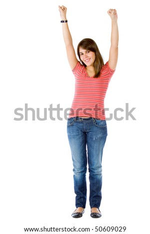 Happy woman with arms up isolated over a hwite background