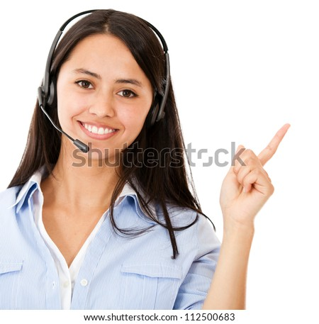 Happy woman with headset pointing - isolated over a white background