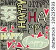 happy words and hand drawn hearts monochrome retro colors graffiti seamless pattern on dark background raster version - stock vector
