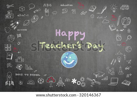 Happy world teacher's day concept with smiley face icon on black chalkboard and doodle freehand sketch chalk drawing: Students sending greeting message to school teachers/ academia on special occasion