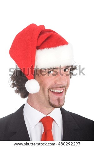 happy young business expression with santa hat isolated on white