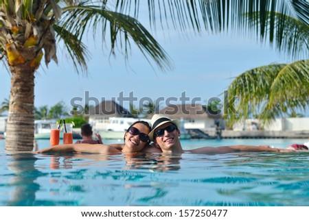 Beautiful blissful woman bikini enjoying tropical stock for Tropical vacations for couples