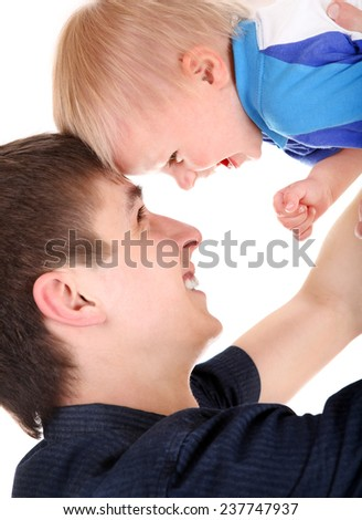 Happy Young Father and Baby Isolated on the White Background