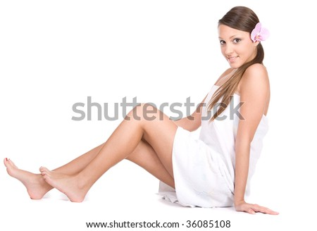 happy young fresh woman in towel
