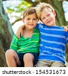 Happy Young Kids, Best Friends - stock photo