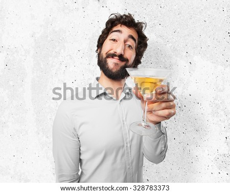 happy young man with alcoholic drink