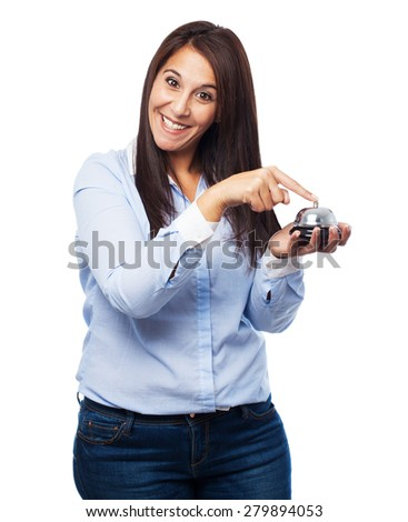 happy young woman with button