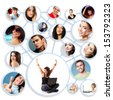 Happy young woman with her social network friends and business partners in a circle diagram, over white - stock photo