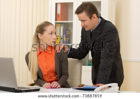 harass to his admin/office staffperson touching her shoulder