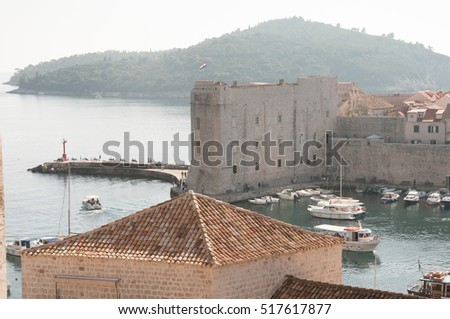 Harbor and Fort in Dubrovnik on the Adriatic Sea