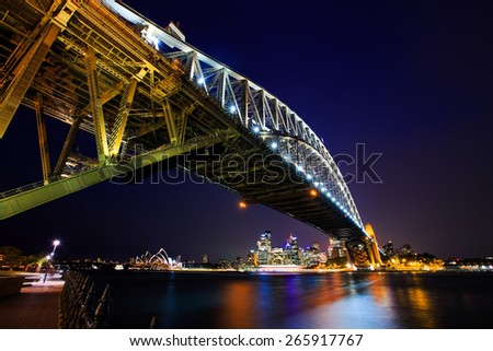 Harbor bridge shooting at night, Sydney, Australia.