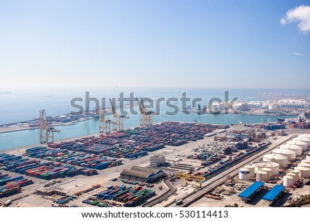 Harbor with lots of cargo in Barcelona, Spain, Europe. Industrial photo