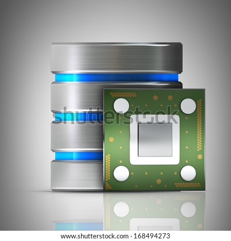 Hard disk and database icon with Processor unit CPU  High resolution 3d