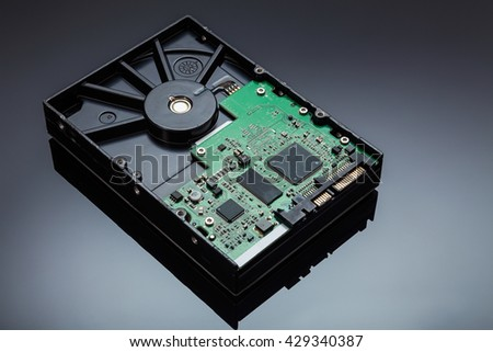 Hard disk drive on a reflective background