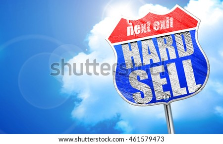 hard sell, 3D rendering, blue street sign