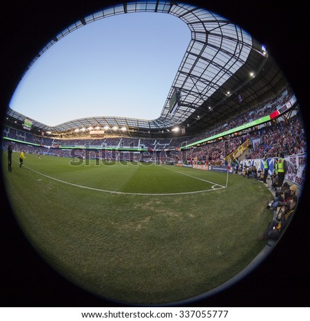 Harrison, NJ - November 8, 2015: Atmosphere at the stadium during playoff conference semifinal between New York Red Bulls and D.C. United on Red Bulls Arena