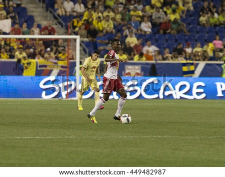 Harrison, NJ USA - July 6, 2016: Devon Williams (80) of New York Red Bulls controls ball during friendly game against Club America of Liga MX Mexico at Red Bull arena
