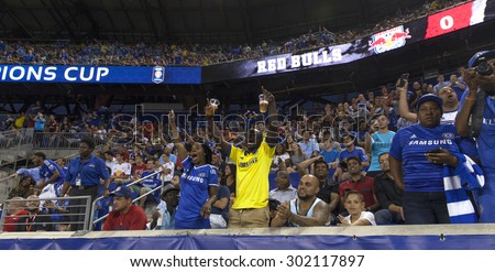 Harrison, NJ USA - July 22, 2015: Fans of Chelsea FC celebrate goal during game between New York Red Bills and Chelsea FC at Red Bulls arena