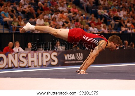 HARTFORD; CT - AUGUST 13: Gymnast Chris Brooks performs in the floor exercise during the men's competition at the VISA Nationals Gymnastics Championships in Hartford; CT on August 13, 2010.