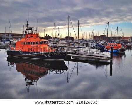 HARTLEPOOL, ENGLAND - SEPTEMBER 08: A Royal National Lifeboat Institution Lifeboat at Hartlepool September 8, 2014 at Hartlepool, England. Tamar Class Lifeboat in Hartlepool Marina