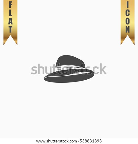 Hat Icon Illustration. Flat simple icon on light background with gold ribbons