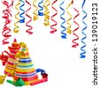 Hats and Serpentine for birthday party isolated on white background - stock photo