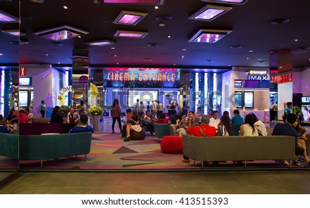 HATYAI, THAILAND - DECEMBER 12 : View of Hatyai Cineplex on December 12, 2015 in Hatyai, Thailand. Hatyai Cineplex is the largest movie theatre in Hatyai, Thailand.