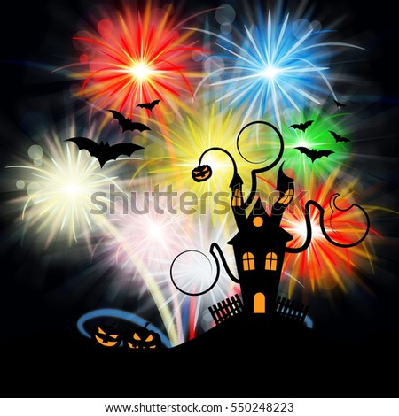 Haunted House And Fireworks Showing Halloween Celebration