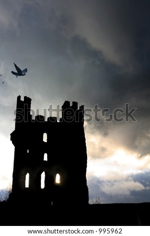 Haunted Tower with birds  settling on Turrets under a stormy nights sky.