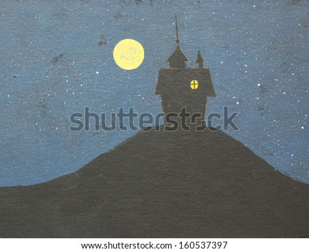 Haunting mansion with full moon. Background for Halloween. Handmade painting illustration.