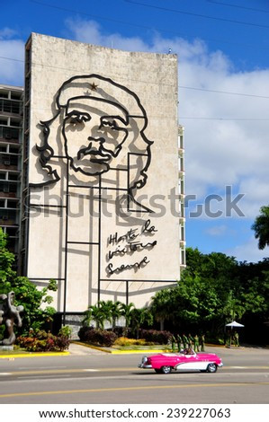 HAVANA, CUBA - DECEMBER 15 2014: Historic building of the Cuban revolution with the Che symbol that remain the same after 50 years