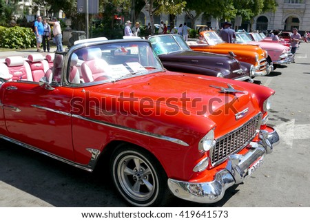 Havana, Cuba - May 4, 2016 : Old American cars are a big tourist attraction on the streets of Cuba.