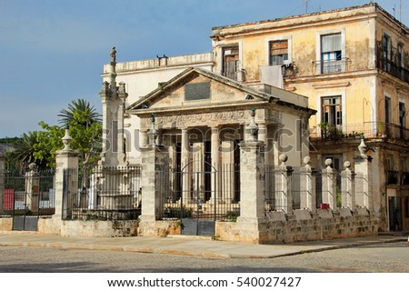 Havana, Cuba: the popular El Templete, a neoclassical commemorative building which was built in 1828 in the exact point where the town of San Cristobal de la Habana was started in 1519
